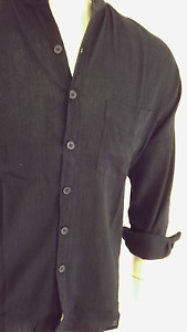 BNWT men cheese cloth gpa shirt black ,with matching buttons long sleeveSize M