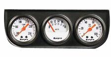 Triple Gauge set - White  faced oil pressure voltage water temp new