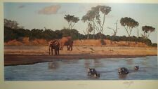 Evening on the Galana Limited Edition Anthony Gibbs Signed Elephants Hippo's