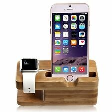 Soporte para Apple Watch Stand Estación de Bambú 38/42mm iPhone Carcasa NUEVO