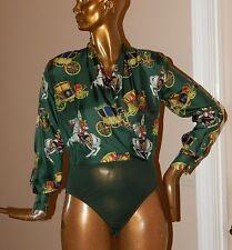 Escada Margaretha Ley Vintage Carriage 100% Silk Body Suit Top Germany 34 EURO