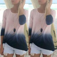 Womens Chiffon Gradient V Neck Tops Long Sleeve Shirt Blouse Loose Baggy T-shirt