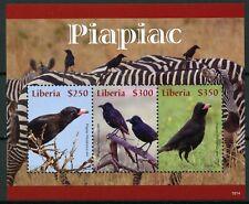 Liberia 2019 MNH Piapiac Piapiacs 3v M/S Zebras Wild Animals Birds Stamps