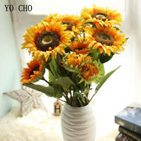 3 Heads Sunflower Artificial Flowers Silk Fake Wedding Home Desk Party  Decora