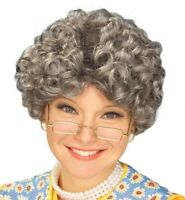 Yo Momma Gray Hair Wig Curly Grandma Grandpa Adult Costume Accessory Prop
