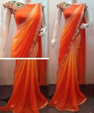 Bollywood Designer Party Wear Orange Color Georgette Fabric Shaded Bridal Saree