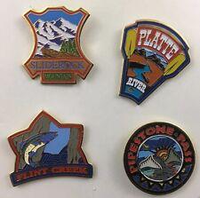 Montana Hat  Pins 4 Lapel Pins Sliderock Platte River Flint Creek Pipestone Pass