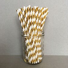 Gold Foil Paper Straws, Gold Drinking Straws, Gold Cake Pop Sticks, Foil Straws