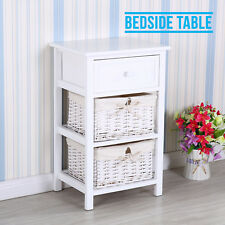 Modern Retro Shabby Chic White Bedside Table Drawer Unit With 2 Wicker Baskets