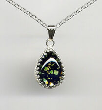 Teardrop 925 Sterling Silver Chain Necklace Black Blue Fire Opal Dragons Breath