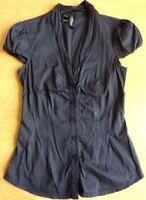 Mango Suit Cap Sleeve Blouse Shirt Dark Blue Size: EUR M, US 6