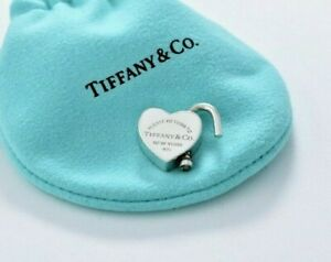 Please Return To Tiffany & Co Silver Heart Padlock Charm for Necklace / Bracelet