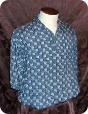 Mens Roundtree & Yorke Shirt Size Large Blue White Check Short Sleeve Rayon