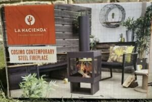 La Hacienda Cosimo Contemporary Steel Fireplace Wood Log Burner Chiminea