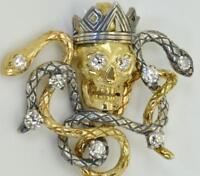 MUSEUM 19th C Victorian Memento Mori 18k gold&Diamonds King Skull&Snakes pendant
