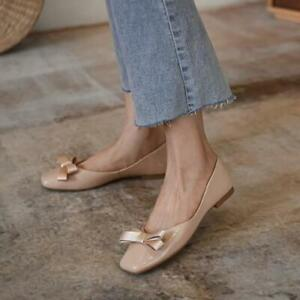 Women Elegant Soft Leather Ballerina Flats Closed Toes Bendable Beads Shoes_复制