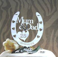 Personalised Mum & Dad 25th Silver Wedding Anniversary Horseshoe Gift CAKETOPPER
