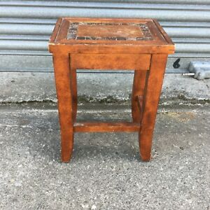 Small Indian Stool/Table Plant Stand W/ Inlaid Polished Coconut Shell 23x30x52cm