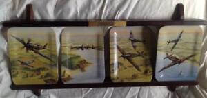 Davenport ltd Ed set 4 Plates Battle of Britain planes series + display stand