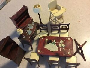 Vintage Renwal Doll House Furniture Dining Room chairs Buffet, hutch High Chair
