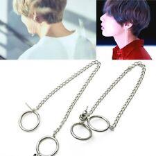 2X KPOP BTS V Earrings Bangtan Boys V Doulbe Ring Chain Fashion Stud Earrings