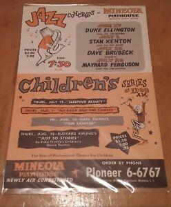 Mineola Playhouse Duke Ellington Stan Kenton Brubeck 1965 Jazz Handbill Flyer