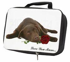 Choc Labrador with Rose 'Love You Mum' Black Insulated School Lun, AD-L54RlymLBB
