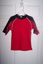 TUGA KDS' RED AND BLACK MOCK NECK COLLAR SURFER TEE SHIRT - SIZE AGE 6