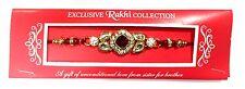Rakhi Bracelet / Rakhi Thread Large Red Gem Stone Kundan Rakhi with White Stone