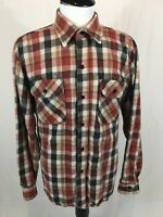VTG Five Brother Flannel Work Shirt Mens XL Plaid Heavy Cotton Made In USA