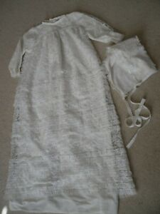 Mothercare vintage1970`s baby christening gown & bonnet