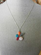 BARSE Silver,Pink Opal,Turquoise,Orange Sponge Coral, Red Onyx Necklace MSRP $88