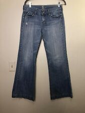 Seven 7 For All Mankind BELL BOTTOM Wide Flare Jeans Pale Blue Whiskered 30