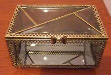 Tinted Grey Glass Panelled Jewellery/Trinket Box