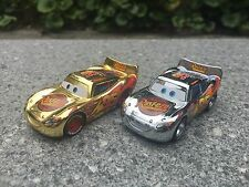 Disney Pixar Car Metallic Gold & Silver 2pcs Lightning McQueen Toy Car New Loose