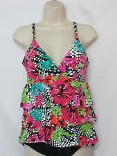 NWOT Island Escape Real Solutions One Piece Swimsuit Bright Floral Print Size 10