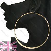 """4"""" HUGE HOOP EARRINGS 10cm plain GOLD FASHION big giant hoops metal large"""
