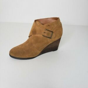 Lucky Brand Sumarah Suede Wedge Booties Boots Tan Womens Size 7.5