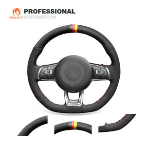 Hand Stitched Black Suede Steering Wheel Cover for VW Golf 7 GTI Golf R MK7 Polo