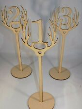 Freestanding Wooden antlers stag table place numbers -Wedding - 30cm MDF 4 for 3