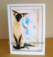 Siamese cat painting art greetings birthday card large original Suzanne Le Good