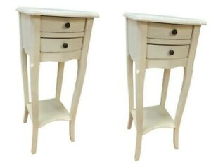 Pr Antique White 2 Drawer Bedside Chest Bedroom French Furniture Shabby SECONDS