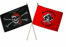 "12x18 12""x18"" Wholesale Combo Pirate Surrender Booty & Red Surrender Stick Flag"