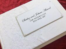 Personnalisé Vintage Wedding Engagement Livre d'Or Dentelle Blanche Coffret