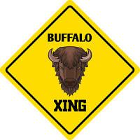 "*Aluminum* Buffalo Crossing Funny Metal Novelty Sign 12""x12"""