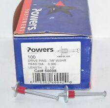 "Powers Fasteners Drive Pins 50098  7/8"" WSHR .300 PTZ Pin (1 box of 100)"