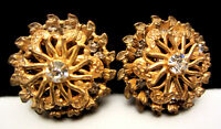 """Rare Vintage 1"""" Signed Miriam Haskell Goldtone Rhinestone Clip On Earrings A76"""