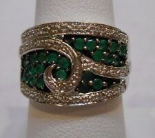 *Estate~Genuine Emeralds & Diamonds 925 Sterling Silver Cocktail Ring Size 7