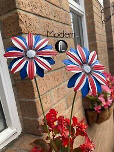 x2 metal hand painted flower ornamental garden stakes, garden ornaments
