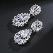 Elegant Women Drop Earrings Noble Marquise Cubic Zircon Jewelry For Bridal